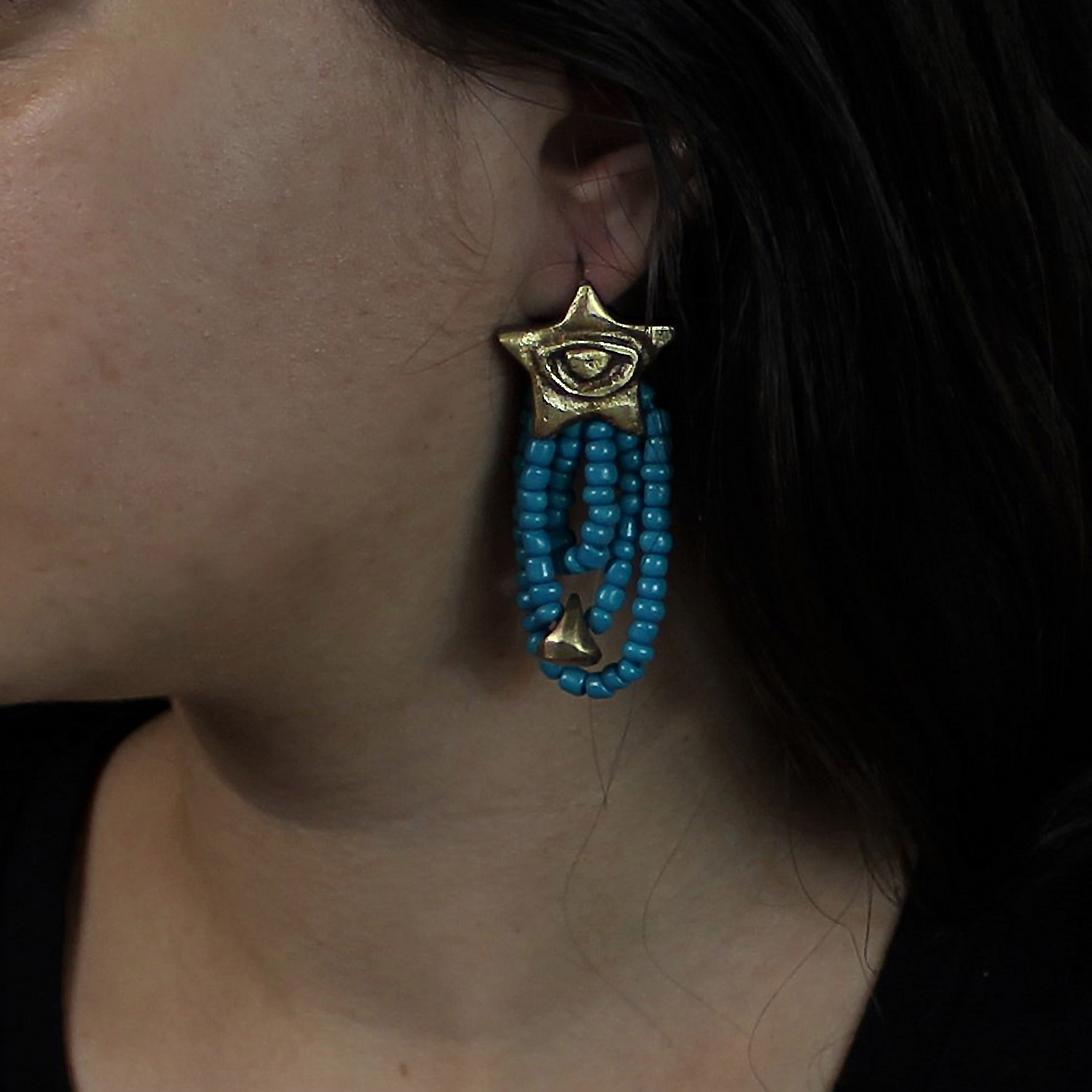 Grid beads earring