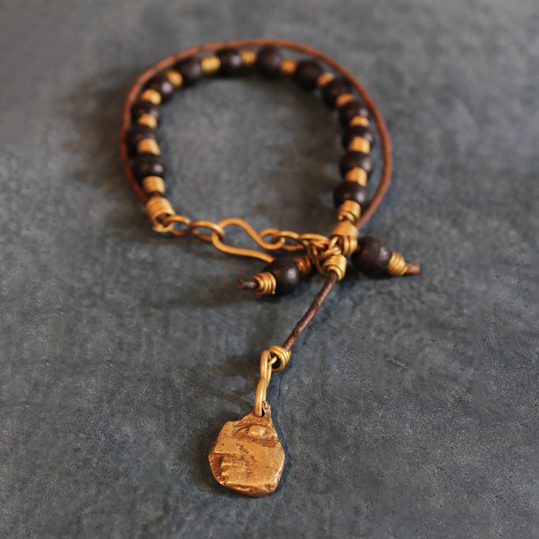 Half Face Wood Pieces Bracelet
