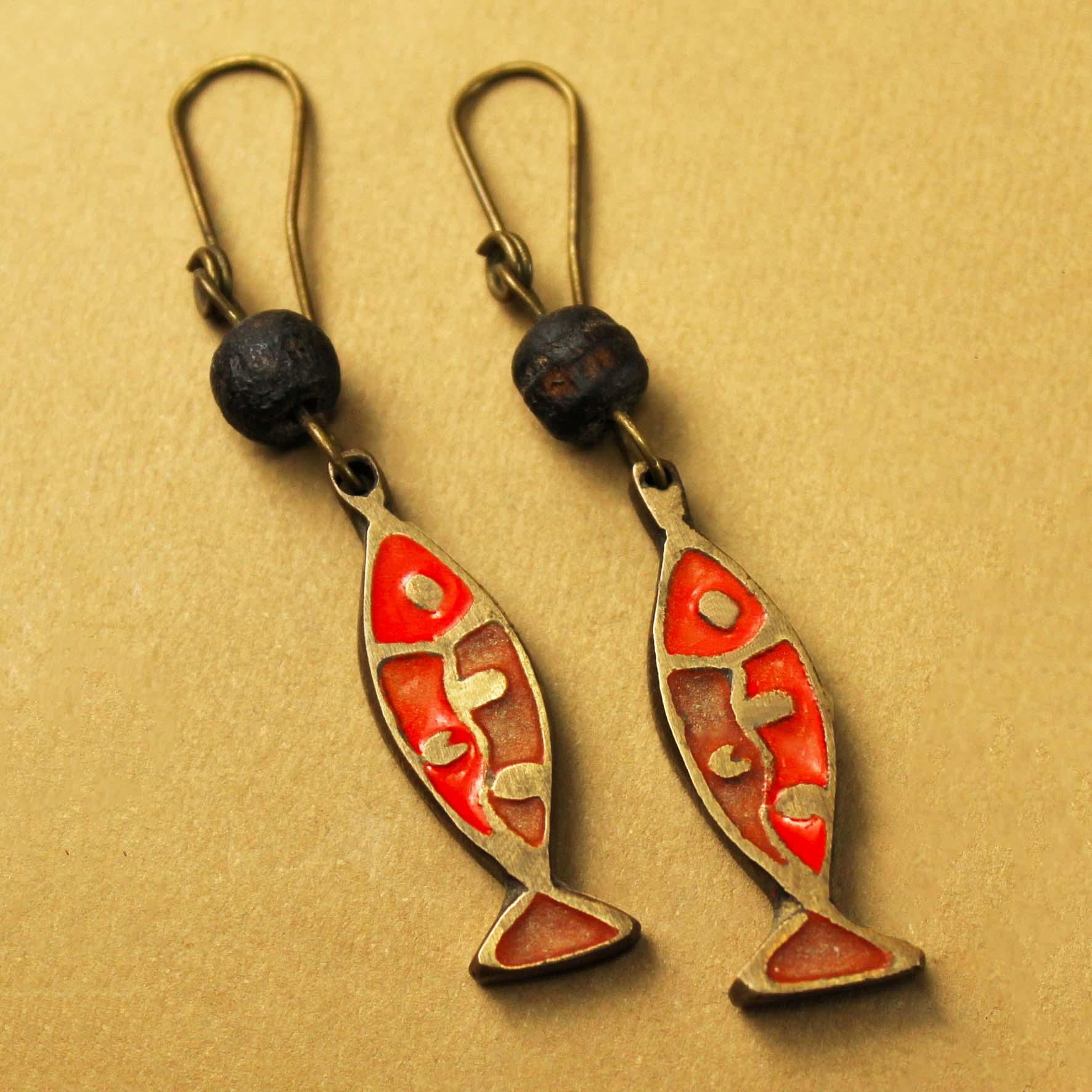 Enamel Fish Earring