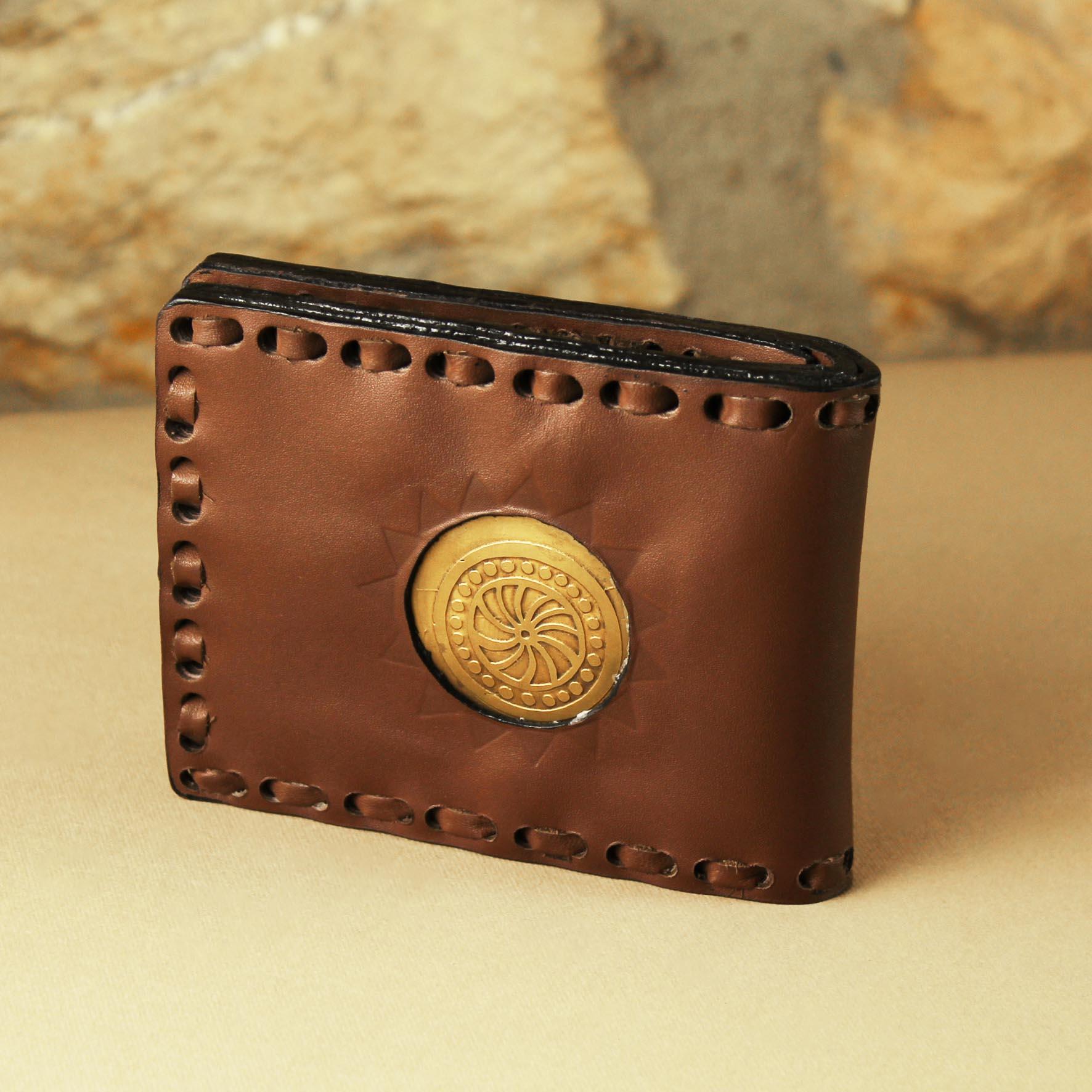 Brass & Leather Spiral Wallet